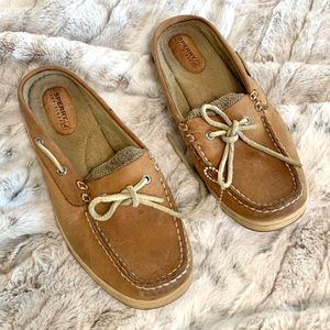 Sperry Top Sider Tan Leather Slip On Boat Shoes